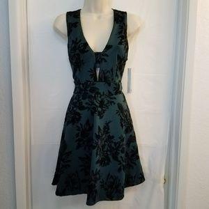 Aqua A Line Velour Dress Sz L Green A10